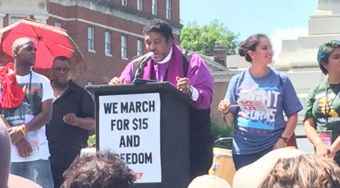Rev. Dr. Barber delivers his speech from the podium
