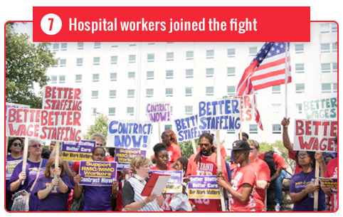 Hospital workers joined the fight