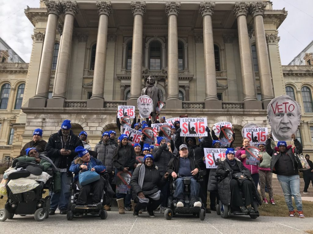 Workers outside the illinois state capitol