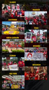 Images of workers striking in Illinois, Michigan, California, Texas, North Carolina, Missouri, Florida, Wisconsin, and New York