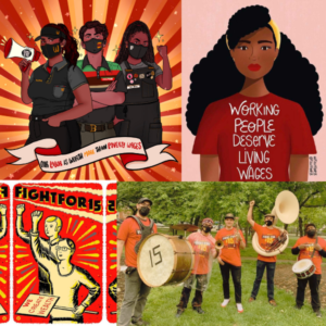 """4 images. Drawing by @liberaljane of three McDonald's workers with a banner reading """"our labor is worth more than poverty wages"""". Drawing by @ariadesole of a woman wearing a shirt that says """"working people deserve living wages"""". Drawing by @chemaskandal of two people with their fists raised with a banner that says """"fight for 15"""". Photo of @brunothedrummer,@ashlinparker, @johnmichaelbradford, @colescottrubin, and Keith Roberts wearing Fight for $15 shirts and carrying instruments."""