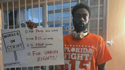 Ben Francois is ON STRIKE in Miami today. ALL workers need paid sick leave, whether it's a coronavirus pandemic or simply having to take a family member to the doctor.