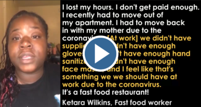 We've got to listen to the workers, like Katera, on the frontlines of the coronavirus pandemic. It's dangerous and we need proper safety protections!