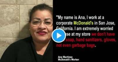 Mar. 19, workers at a corporate McDonald's  restaurant in San Jose WALKED OFF THE JOB after their hours were cut and they got no info on how they could take #PaidSickLeave.  There was no hand sanitizer, soap, or gloves in the store.