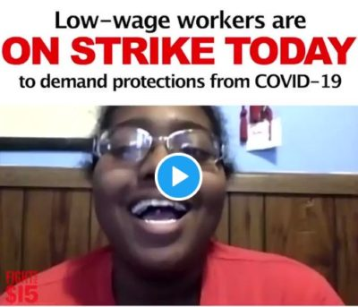 Sheree is one of over 3 million workers who lost her job due to the coronavirus. She stands in solidarity with fast-food and low wage workers ON STRIKE TODAY demanding improved safety standards, paid sick days and emergency healthcare to #ProtectAllWorkers