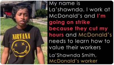 McDonald's is reducing the hours of workers and we're suffering because of it. Fewer hours means less pay. McDonald's needs to provide for lost wages so we can have some financial stability.