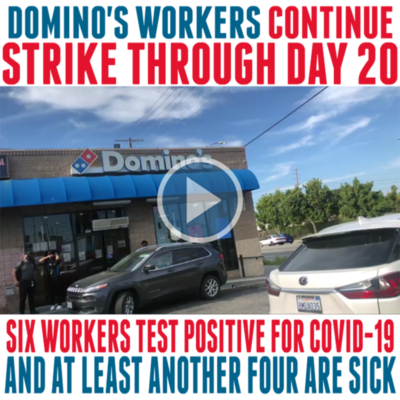 Los Angeles Domino's strike continues through day 20. Striking McDonald's worker Angelica Hernandez joins car protest to support.