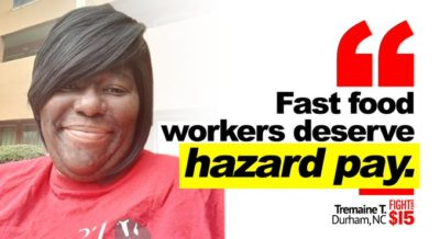 We work with the public everyday – exchanging money, delivering food and interacting with customers. Amidst the coronavirus pandemic, we demand hazard pay. NOW.