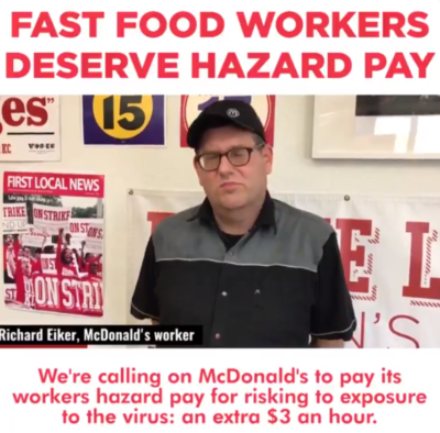 Fast-food workers should have hazard pay. Pass it on!