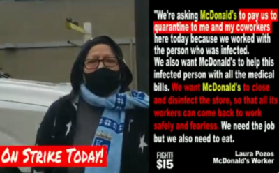McDonald's allowed Laura Pozos' co-worker to work even though she had a cough, chills and body aches. Laura didn't learn that the co-worker tested positive for #COVIDー19 until they were hospitalized.