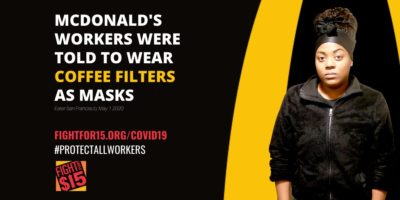 When personal protective equipment was in short supply at McDonald's restaurant, workers were reportedly told to wear COFFEE FILTERS as masks.