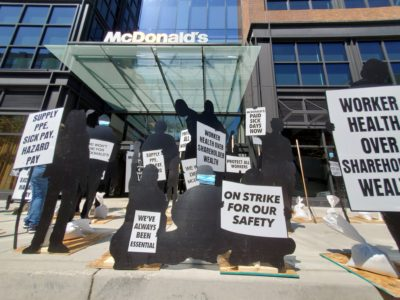 BREAKING: Strike line outside McDonald's headquarters in Chicago.  Because of the virus, we are delivering our messages with an art installation featuring the silhouettes of protesters!