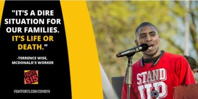 """McDonald's worker and #FightFor15 leader Terrence Wise was SILENCED by McD Shareholders. His message: """"In your restaurants, right this minute, workers are getting sick from COVID-19. We deserve $15 and a Union!"""""""