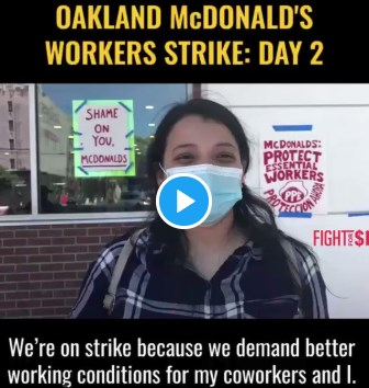 """""""We're not animals, we're human beings who have families that depend on us!""""  -Angely, on strike in Oakland"""
