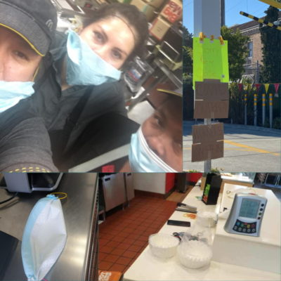 After being told to wear dog diapers and coffee filters as masks, two-dozen workers at an Oakland McDonald's  are on strike after COVID-19 outbreak. 4 workers positive, 3 others sick; workers' kids sick, including 10-month-old baby