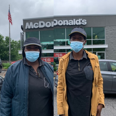 Brianna Harris and Jahnelle Ellis walked off the job today  McDonald's in St Louis. We'll do whatever it takes to win PPE, Paid sick leave, and hazard pay!