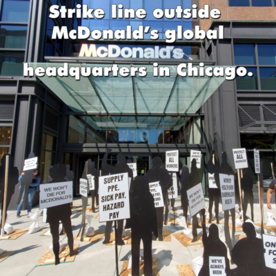 BREAKING: Strike line outside McDonald's  headquarters in Chicago.  Because of the virus, we couldn't bring the strike to McDonald's in person, but we are there in spirit and delivering our messages with an art installation featuring the silhouettes of #FightFor15 protesters!