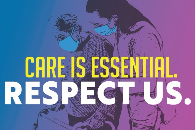"""Image of two people wearing masks. Overlaid text says """"Care is Essential. Respect Us."""""""