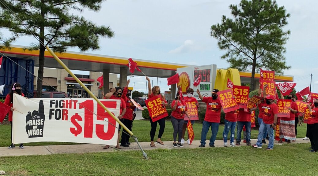 Workers striking outside McDonald's.